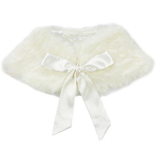 iEFiEL Girls Faux Fur Ribbon Ties Flower Dress Bolero Shrug Princess Cape Beige 3-6 Years (Dress Bolero Girls)