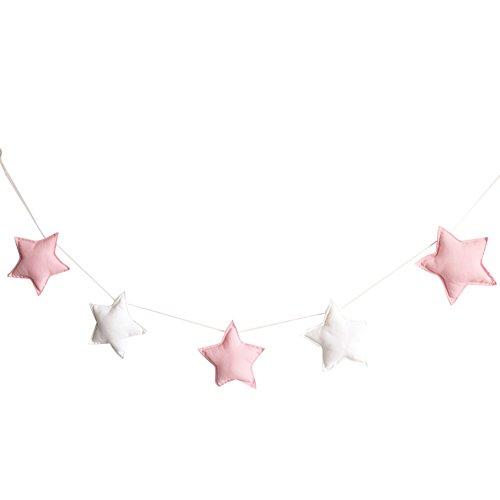 Homeofying - Juego de 5 estrellas colgantes para colgar en habitacion infantil, estilo nordico, tela, Rosa y blanco
