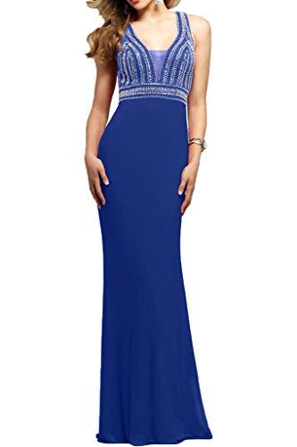 mit Brautmutterkleider Festlichkleider Perlen Abendkleider V Royal Chiffon Braut Lang Damen mia Blau Ausschnitt Sommer La 0q8x4zwY