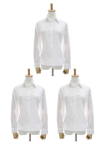LEONIS Women s Easy Care Poplin Long Sleeve Shirt White Set Of Three (XL   12 )   22107 3pcs   c4154145e