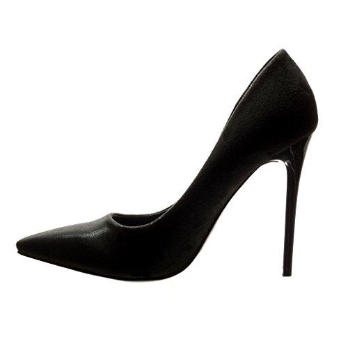 Angkorly - Scarpe da Moda scarpe decollete stiletto sexy donna lucide Tacco Stiletto tacco alto 11 CM - Nero