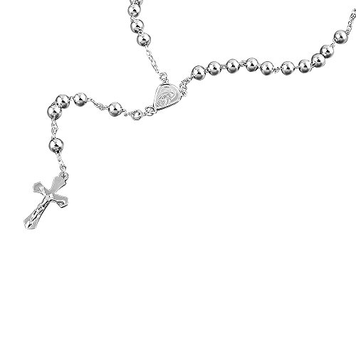 6mm Bead Cross Sterling Silver Rosary Necklace Available Length - 22, 24, 26, 28, 30 Inches by Prime Pristine