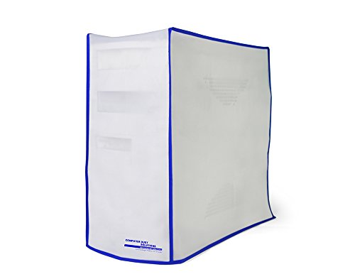 Computer Dust Solutions CPU Dust Cover, Covers PC Case, Silky Smooth Antistatic Vinyl, Translucent Coconut Cream Color with Blue Trim, Several Sizes Available, for Mid Tower (8.2W x 16H x 18.5D)