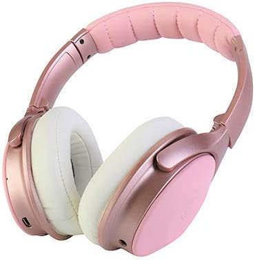 XINWU 800 Active Noise Cancelling Bluetooth Headphone, Stereo Surround Sound w Soft Protein Earmuff, Built-in Mic, 20h Battery Life Fodable Lightweight Over Ear, PU Leather Cover Pink