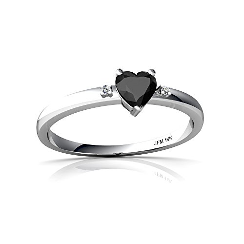 14kt Gold Black Onyx and Diamond 4mm Heart Sweet and Petite Ring