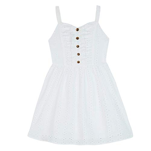Amy Byer Girls' Big Button Front Eyelet Dress, White, -