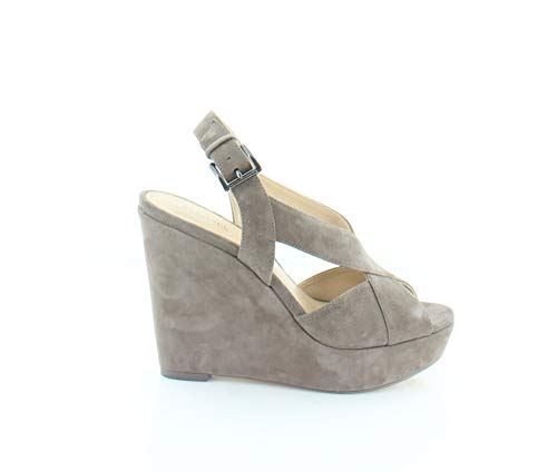 Kors Michael Toe Open Sandals (Michael Michael Kors Womens Becky Wedge Open Toe Casual Ankle, Taupe, Size 5.0)
