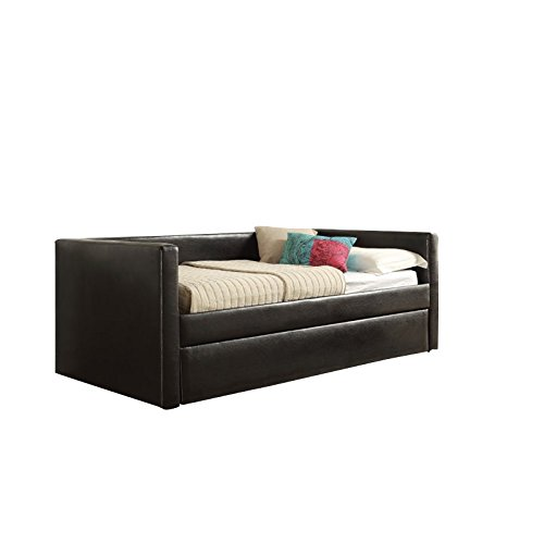 Leather Daybed Trundle - ACME Aelbourne Black Faux Leather Daybed & Trundle