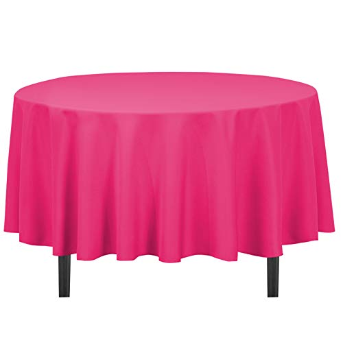 LinenTablecloth 90-Inch Round Polyester Tablecloth Fuchsia