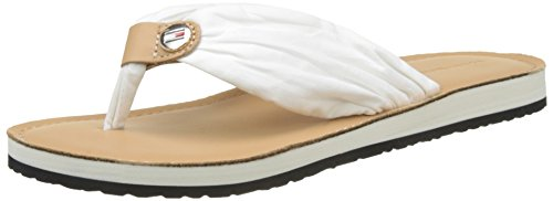 Sandal White Femme Tongs Hilfiger Tommy Blanc Beach Leather whisper 121 Footbed xBPIw