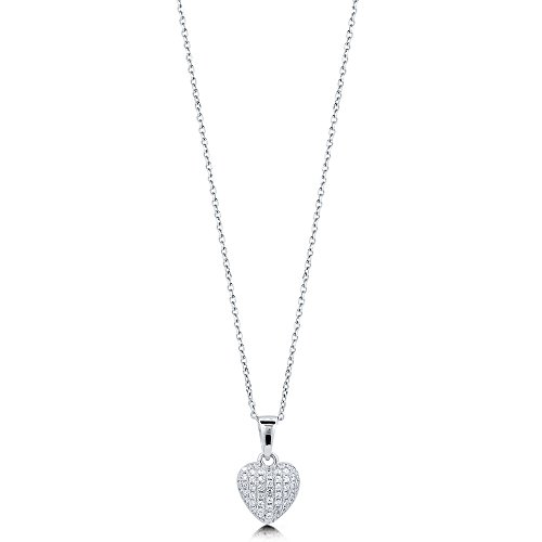 (BERRICLE Rhodium Plated Sterling Silver Cubic Zirconia CZ Heart Anniversary Wedding Pendant Necklace)