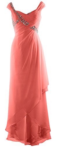 MACloth Elegant V Neck High Low Mother of Bride Dress Maxi Chiffon Formal Gown Blush Pink