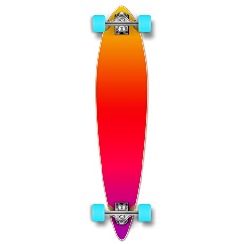 Yocaher Pintail Flat Pro Longboard Complete Cruiser Freeride Skateboard and Decks (Complete - Gradient Pink) (Longboard Pintail Loaded)