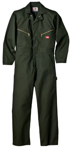 Dickies Men's Deluxe Long Sleeve Blended Coverall, Olive Green, Small/Regular