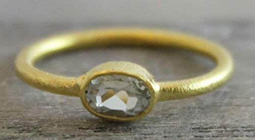 Petite Oval Green - Petite Oval Prasiolite Green Amethyst Gemstone Gold Plated Sterling Silver Ring, size 7