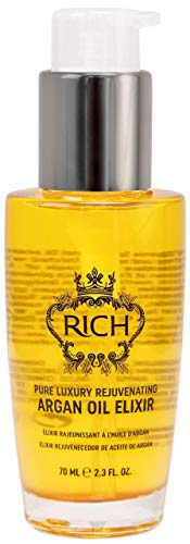 Luxury Argan Oil for Hair – by RICH | Hydrating Smoothing Hair Oil Treatment Serum to Repair Damaged Dry Curly Frizzy…
