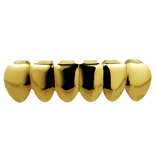 Grill Assortment (Niv's Bling – 18K Gold Plated Stainless Steel Grillz – 6 Tooth Gold Hip Hop Dental Grill – Bottom Only)