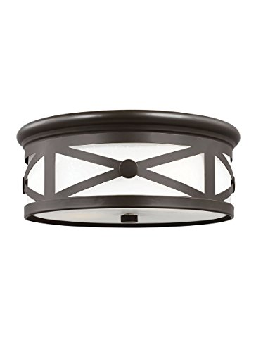 Outdoor Flush Mount Antique - Sea Gull 7821452-71 Lakeview Outdoor Ceiling Flush Mount, 2-Light 120 Total Watts, Antique Bronze