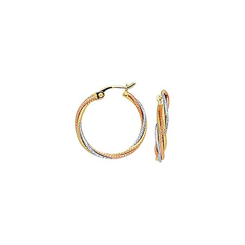 14K Yellow, Rose & White Gold Shiny Textured Tri-Color Multi-Strand Small Twisted Hoop Earrings ()