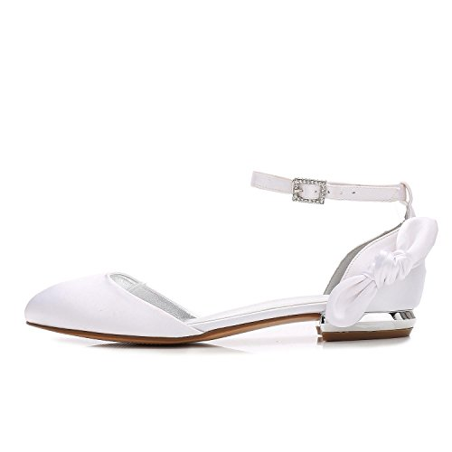 L@YC Women's F5049-29 Satin Wedding Bridal Shoes Closed Toe Heel Evening Porm Sandals With Crystal White JDwuI015v