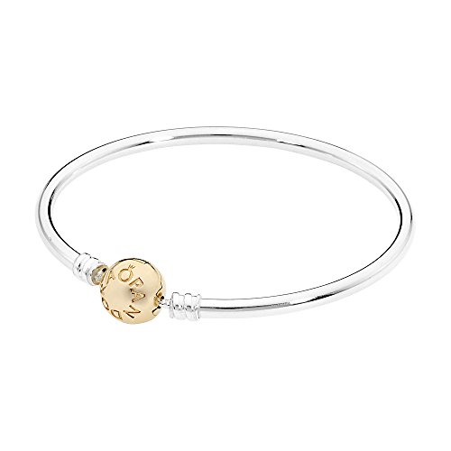 (Pandora Women's 6.7in Bangle Sterling Silver/14K Gold Jewelry 590718-17)