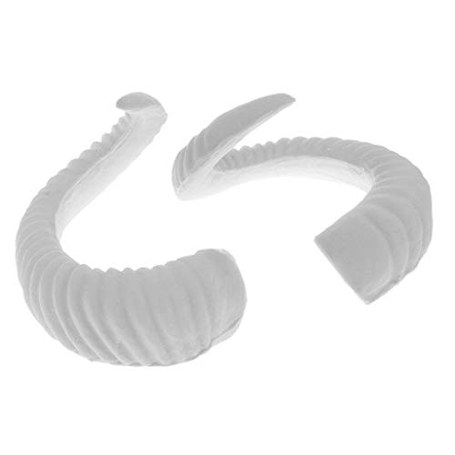 2x Simulation Rams Horns DIY Headband Hair Accessories Cosplay Props White (Color - 13.5x12cm)