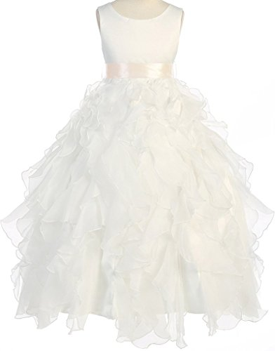 Flower Girl Layered Ruffle Organza Ankle Length Dress for Big Girl Ivory Ivory 10 8.88