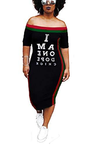 035febddff6e Summer T-Shirt Dress Off Shoulder Letter Printed Bodycon Midi Dress Plus  Size