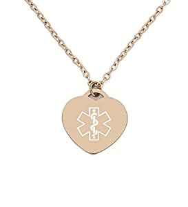 BAIYI Medical Alert ID Necklace Rose Gold Charm Heart Pendant Women Free Engraving