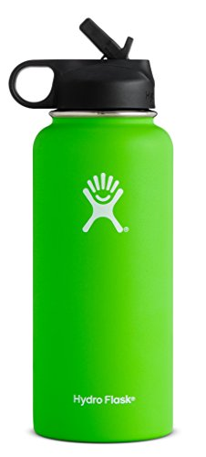 Hydro Flask Vacuum Insulated Stainless Steel Water Bottle Wide Mouth with Straw Lid (Kiwi, 40-Ounce)