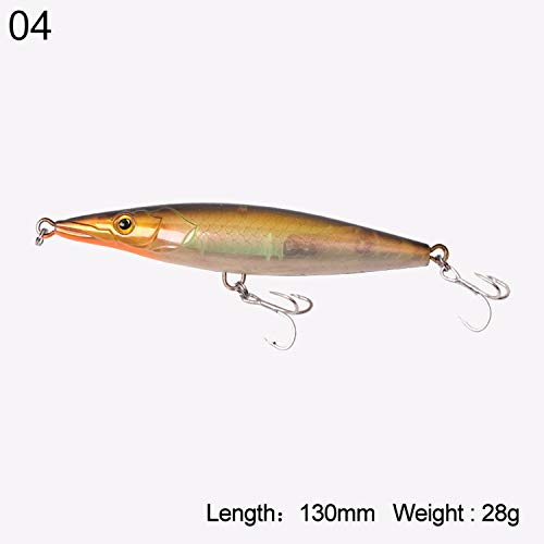 Little Adam Fish hook Fishing Lures Hard Stick Baits Floating Topwater Pencil Asturie 90mm 12g/110mm 16.5g/130mm 28g/150mm 35g 7503,Color 04 130mm