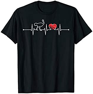 Ostrich Heartbeat Gift Animal Lover Funny EKG Ostrich Cute T-shirt | Size S - 5XL