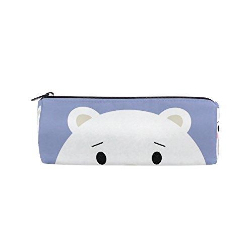 Round Pencil Case Bag Cute White Polar Bear Multi FunctionSchool Supplies Organizer Pouch Bag with Zipper Closure