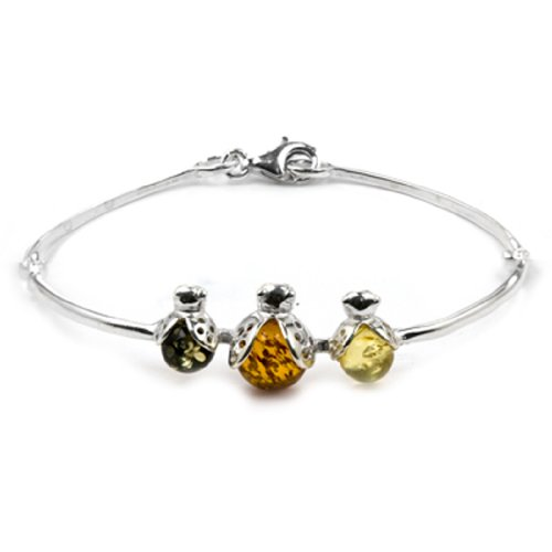 Sterling Silver Multicolor Amber Ladybugs Bangle Length 6 Inches