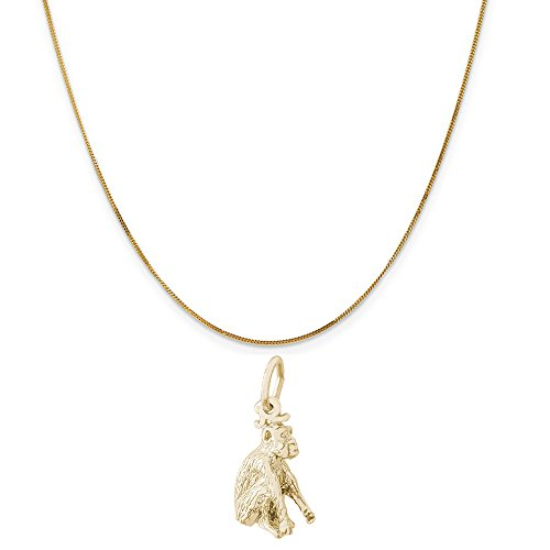 (Rembrandt Charms 14K Yellow Gold Monkey Charm on a 14K Yellow Gold Curb Chain Necklace, 18