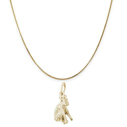 14k Gold Monkey Charm - Rembrandt Charms 14K Yellow Gold Monkey Charm on a 14K Yellow Gold Curb Chain Necklace, 18