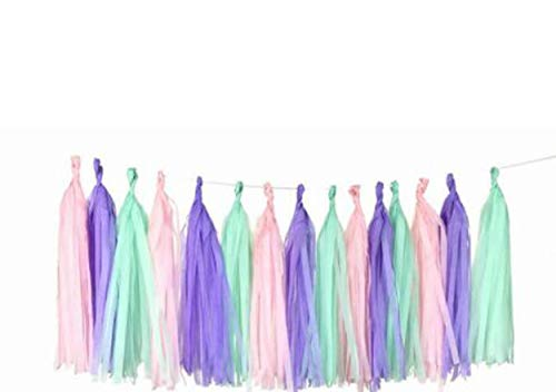 Mermaid Party Decor Girl Baby Shower Decorations Tassel Garland, Tissue Paper Tassels for Wedding, Baby Shower, Event & Party Supplies, 3 Pack 15 Pcs 14 inch DIY Kits - (Pink+Purple +Mint Green)]()