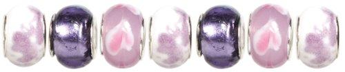 Cousin Trinkettes 7-Piece Glass/Metal Bead, Purple/Pink Swirl ()