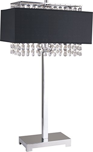 SH Lighting Contemporary Table Desk Lamp with Hanging Crystals Chrome Shiny Base – 27 Tall Fits in Bedrooms, Couch-Side, or Living Rooms – Black