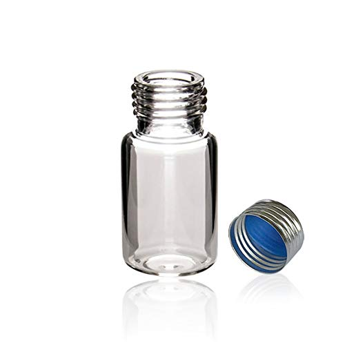 Autosampler Vials, MS Lab Supply 10ml Clear Sample Vials with 18mm Silver Screw Cap(Blue PTFE/White Silicone Liner), Pack of 100