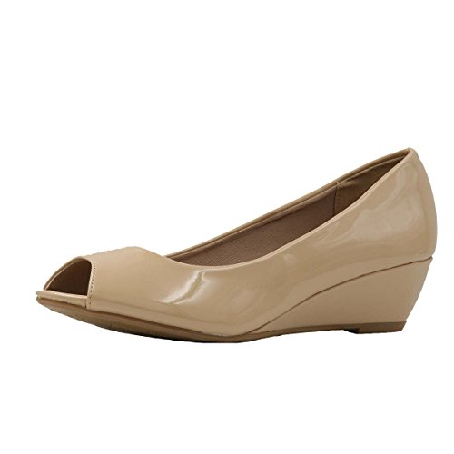 Bella Hanna Women's Peep Toe Low Wegde - Wedge Low Comfort Toe Peep