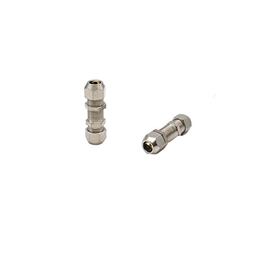 Metalwork Metric Nickel Plated Brass Compression Tube Fitting, Bulkhead Union (8mm OD x 8mm OD, Pack of 5)