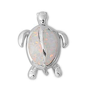 Glitzs Jewels 925 Sterling Silver Created Opal Pendant for Necklace in Gift Box White