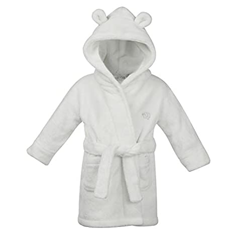 STYLE MIXX Baby Boys Hooded Supersoft Fleece Bath Robe With Ears Girls Heart Dressing Gown (18-24 MONTHS, WHITE 18C204) BABYTOWN