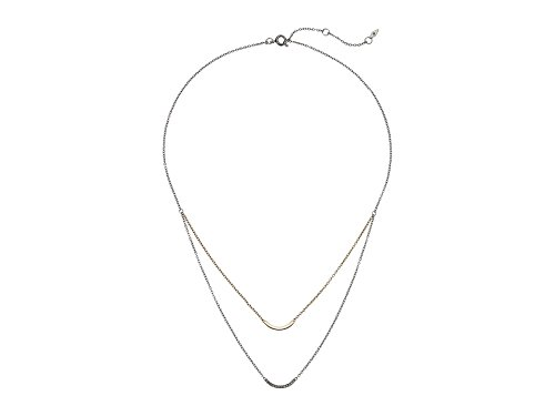 Fossil Double Arched Bar Two-Tone Steel Necklace, Gold, One Size