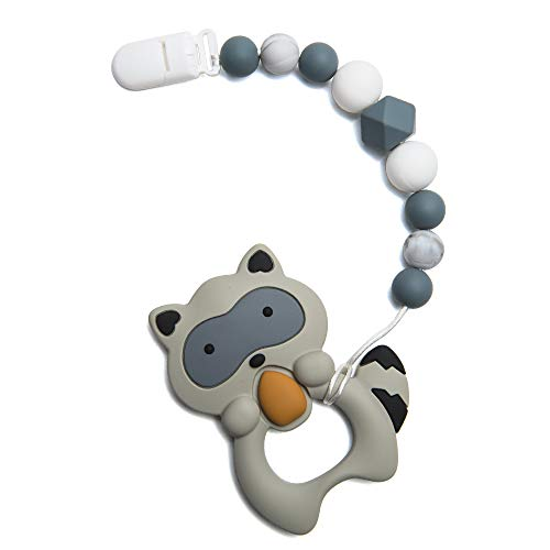 Leayjeen Silicone Pacifier Clip Tooth Pain Relief Teether Black Raccoon Pattern Holder for Boys and Girls (Black)