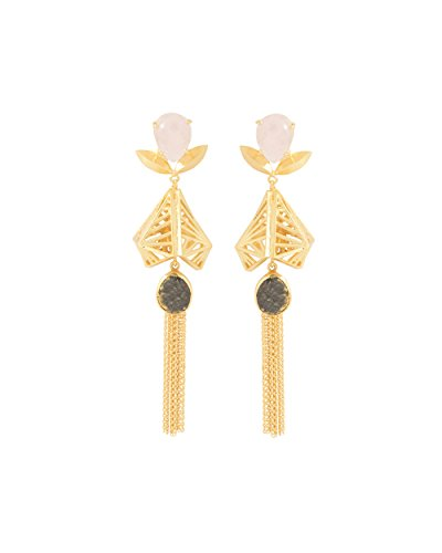 Voylla Women's Gold Toned Tasselled Danglers Adorned With Pink-Green Stones by Voylla