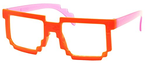 FancyG Retro Classic 8-Bit Pixel Geek Gamer Pixelated Glass Frame for Kids NO LENS - Orange - Best Geek Glasses