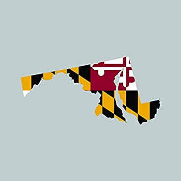 Maryland state shaped flag sticker self adhesive vinyl decal md