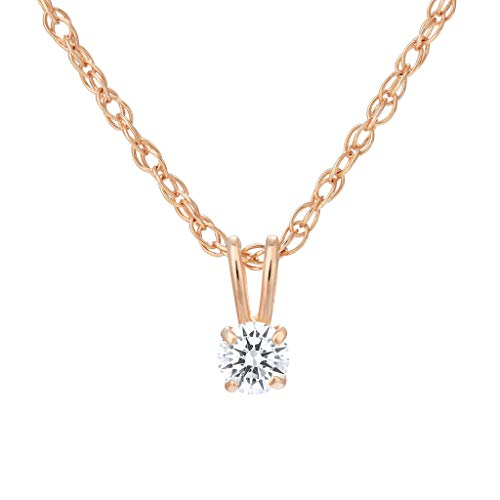 (SOLIDGOLD - 14K Gold Pendant with CZ Round Solitaire Stud & Adjustable Chain Size 3mm in Rose Gold)